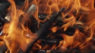 Closeup of flames burning on black background, slow motion Stock Footage