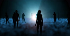 People, human entities standing around blue glowing orb Stock Footage