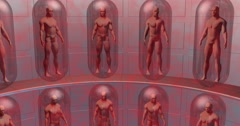 Human Clones suspended in capsules , life support system. Stock Footage