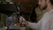 Barista preparing milk coffee maker Stock Footage