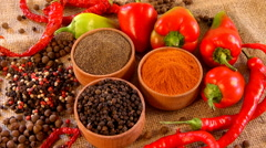 Spice. The collection of peppers. Red, black, white pepper Stock Footage
