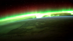 Earth and Aurora Borealis from ISS. Elements of this video furnished by NASA Stock Footage