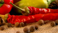 Macro mixing spices. Set peppers to meat dishes. Chilli and black allspice Stock Footage