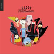 Trick or treat group of children Stock Illustration