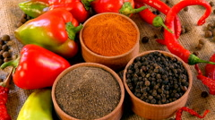 Ground pepper to meat dishes, marinades and sauces. A mixture of ground peppe Stock Footage
