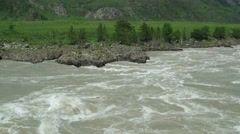 Rocky bank of Mountain river. Katun, Altai, Siberia Stock Footage