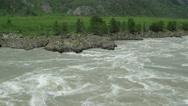 Rocky bank of Mountain river. Katun, Altai, Siberia Stock Footage