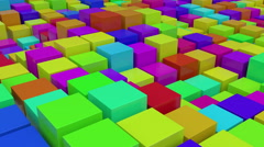 Flight over white moving color cubes. Stock Footage
