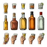 Set alcohol drinks with bottle, glass and hand holding beer, gin, whiskey, te Stock Illustration