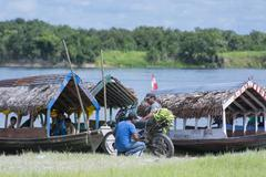 River Boats, Manacamiri, Amazon River, Peru Stock Photos