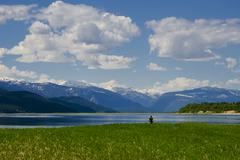 Camper soaks in the views of Upper Arrow Lake, near Revelstoke, in the Stock Photos