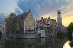 Buildings along a Canal in the Historic Center of Bruges, Belgium Stock Photos