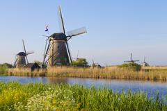 The Windmills at Kinderdijk are a UNESCO World Heritage Site. Stock Photos