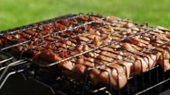 Appetizing roasted meat on the coals. Pork barbecue. BBQ Stock Footage