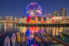 Dragon boats and Telus World of Science dome, False Creek, Vancouver, British Stock Photos