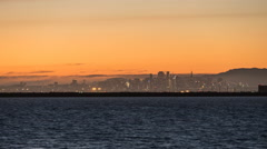 Oakland Airport Day to Night Time Lapse on San Francisco Bay Stock Footage