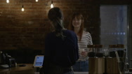 Customer in coffee shop Stock Footage