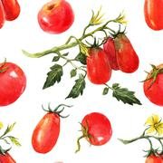 Watercolor tomato pattern Stock Illustration
