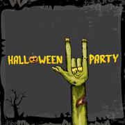 Halloween vector rock n roll zombie background Stock Illustration