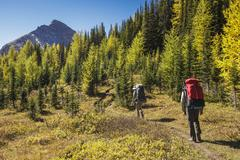 Two back packers hike the trail to Baker Lake in the Skoki wilderness area of Stock Photos