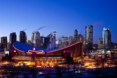 Calgary Skyline at night, Calgary, Alberta, Canada. Stock Photos