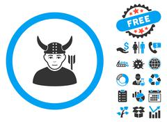 Horned Ancient Warrior Flat Vector Icon with Bonus Stock Illustration