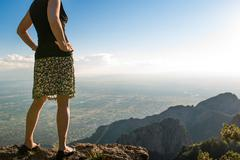 Hiking and lookout at Sandia Peak, Albuquerque, New Mexico. Stock Photos