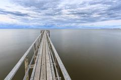 Wooden pier on Lake Winnipeg, Matlock, Manitoba, Canada Stock Photos