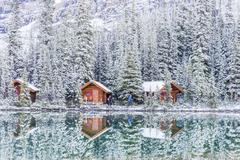 Fresh snow on cabins, Lake O'Hara, Yoho National Park, British Columbia, Canada Stock Photos