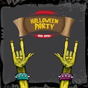Halloween vector rock n roll zombie background Piirros
