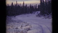 1946: the people with cattle vehicle go through the forest covered with snow Stock Footage