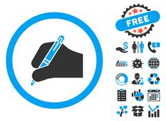 Signature Hand Flat Vector Icon with Bonus Stock Illustration