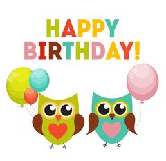 Cute Owl Happy Birthday Background with Balloons and Place for Y Piirros