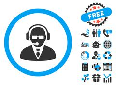 Support Manager Flat Vector Icon with Bonus Stock Illustration