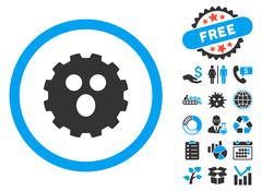 Surprized Gear Smiley Flat Vector Icon with Bonus Stock Illustration