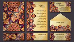 Invitation card collection. Vintage floral decorative elements. Hand drawn ba Stock Illustration