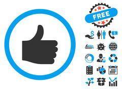 Thumb Up Flat Vector Icon with Bonus Stock Illustration