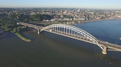Aerial Waal bridge circling,Nijmegen,Netherlands Stock Footage