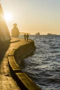 Stanley Park seawall at sunset, Vancouver, British Columbia, Canada Stock Photos