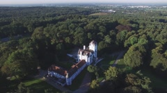 Aeial over castle hotel in forest,Mook,Netherlands Stock Footage