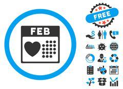 Valentine February Day Flat Vector Icon with Bonus Stock Illustration