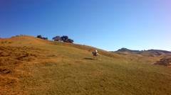 Cowboy on horseback traveling on mountain range on sunny day slow motion Stock Footage
