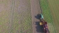 Aerial of potato harvest in field,Limburg,Netherlands Stock Footage