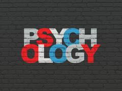 Medicine concept: Psychology on wall background Stock Illustration