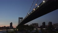 Evening view (in 4k) of the Manhattan Bridge viewed from Brooklyn, New York. Stock Footage