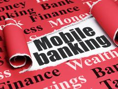 Banking concept: black text Mobile Banking under the piece of  torn paper Stock Illustration