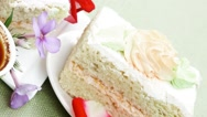 Whipped cream on sweet cake Stock Footage