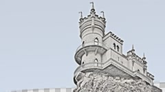 Swallow's Nest. Crimea. Architecture monument. Historical sight. Color pencil. Stock Footage