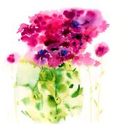 Watercolor pink flowers on a white background Stock Illustration