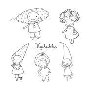 Cute cartoon vegetables Piirros